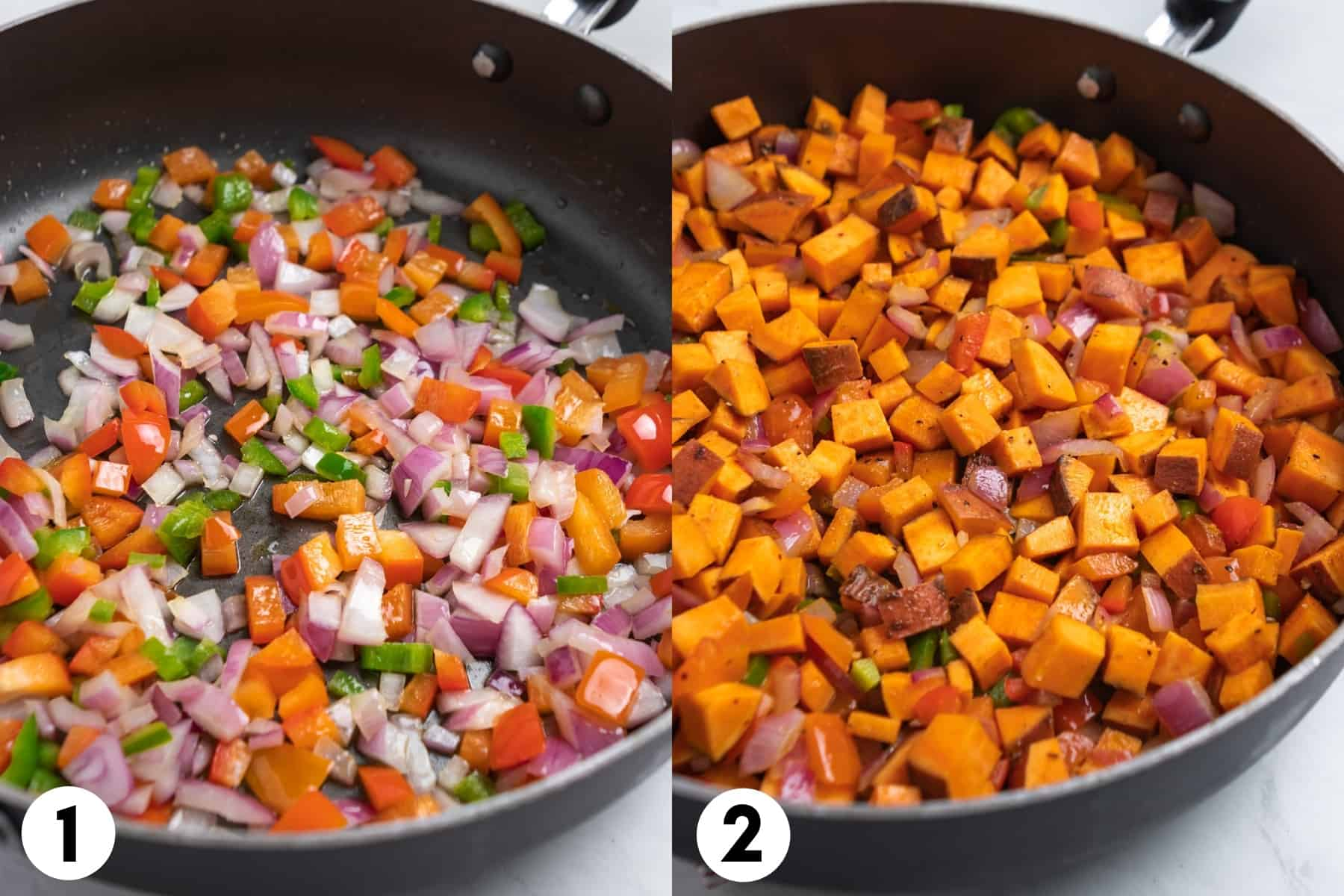 Skillet with onion and peppers and then with sweet potatoes and spices added in.