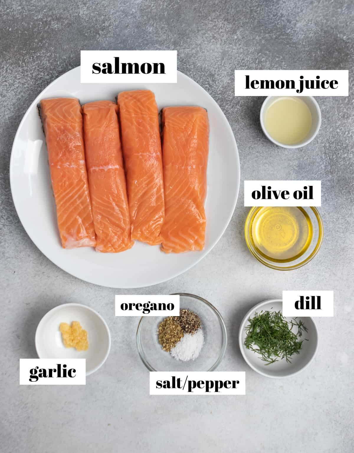 Salmon, lemon juice, dill, spices and other ingredients labeled on counter.