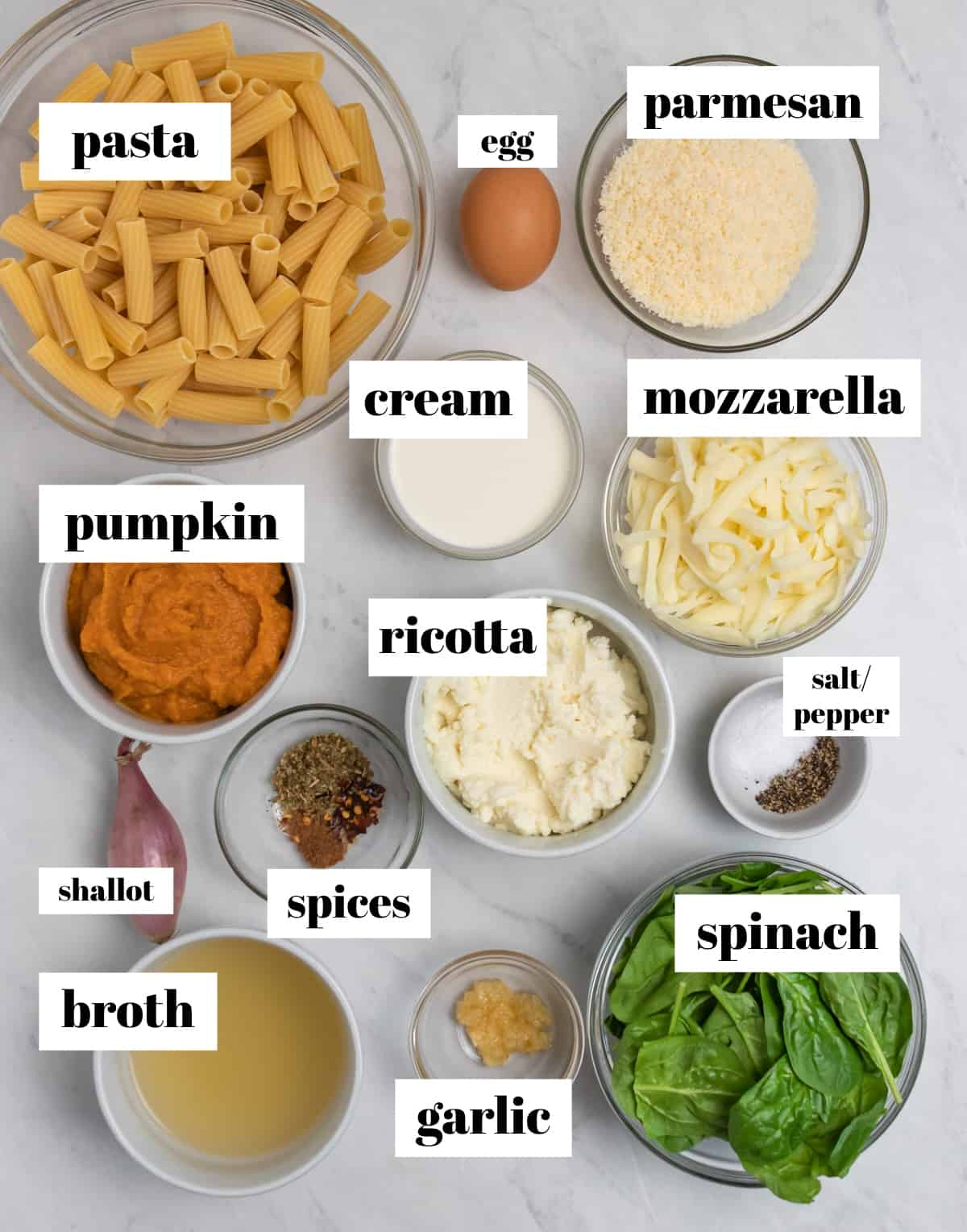 rigatoni, egg, cheeses, spinach, pumpkin and other ingredients labeled on counter.