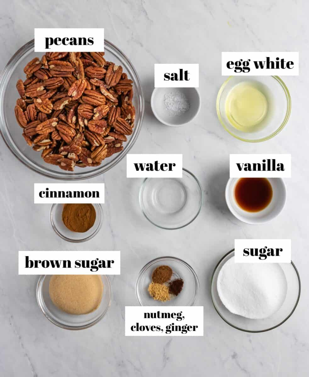 Cinnamon, nuts, sugar, brown sugar and other recipe ingredients labeled on white counter.