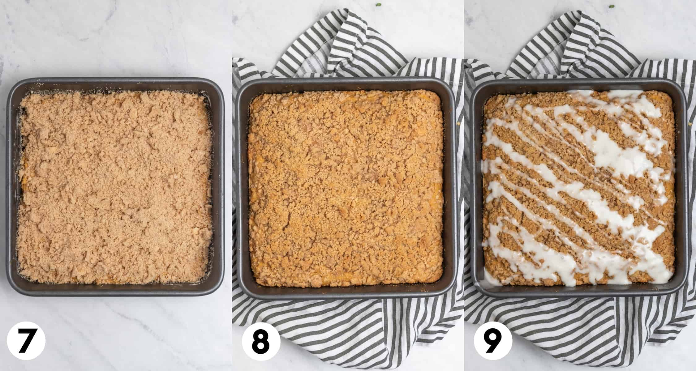 Streusel topping over cake in pan, baked coffee cake and then iced cake.