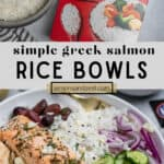 Minute Rice package and pot with cooked rice and Greek Salmon rice bowl.