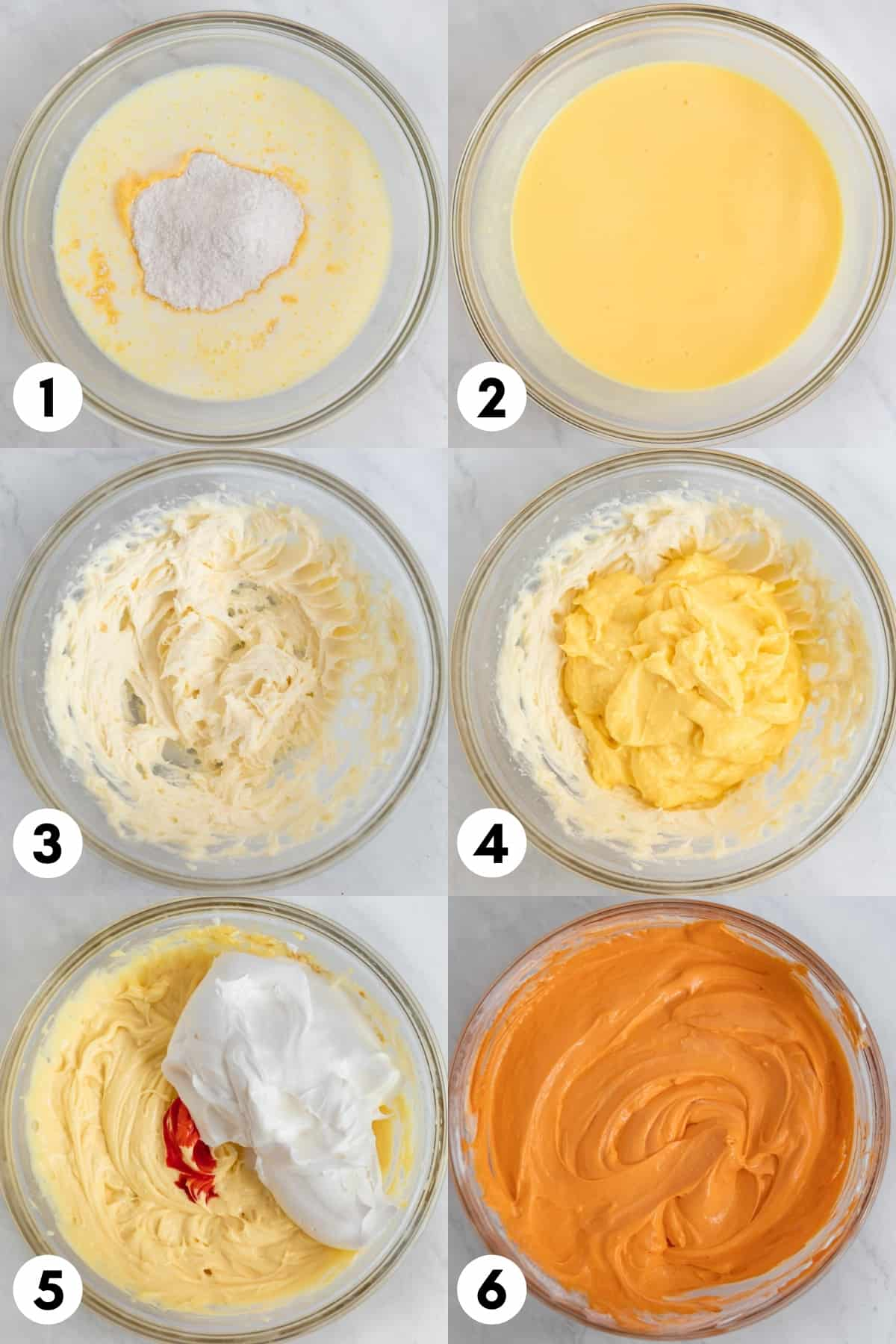 Overhead view of step-by-step photos for Halloween dirt cake.