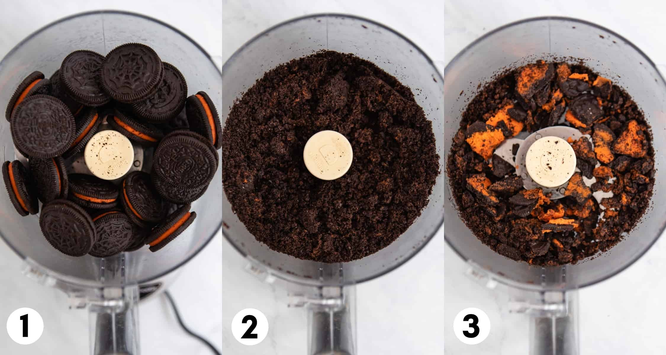Oreos in food processor before and after being crushed.
