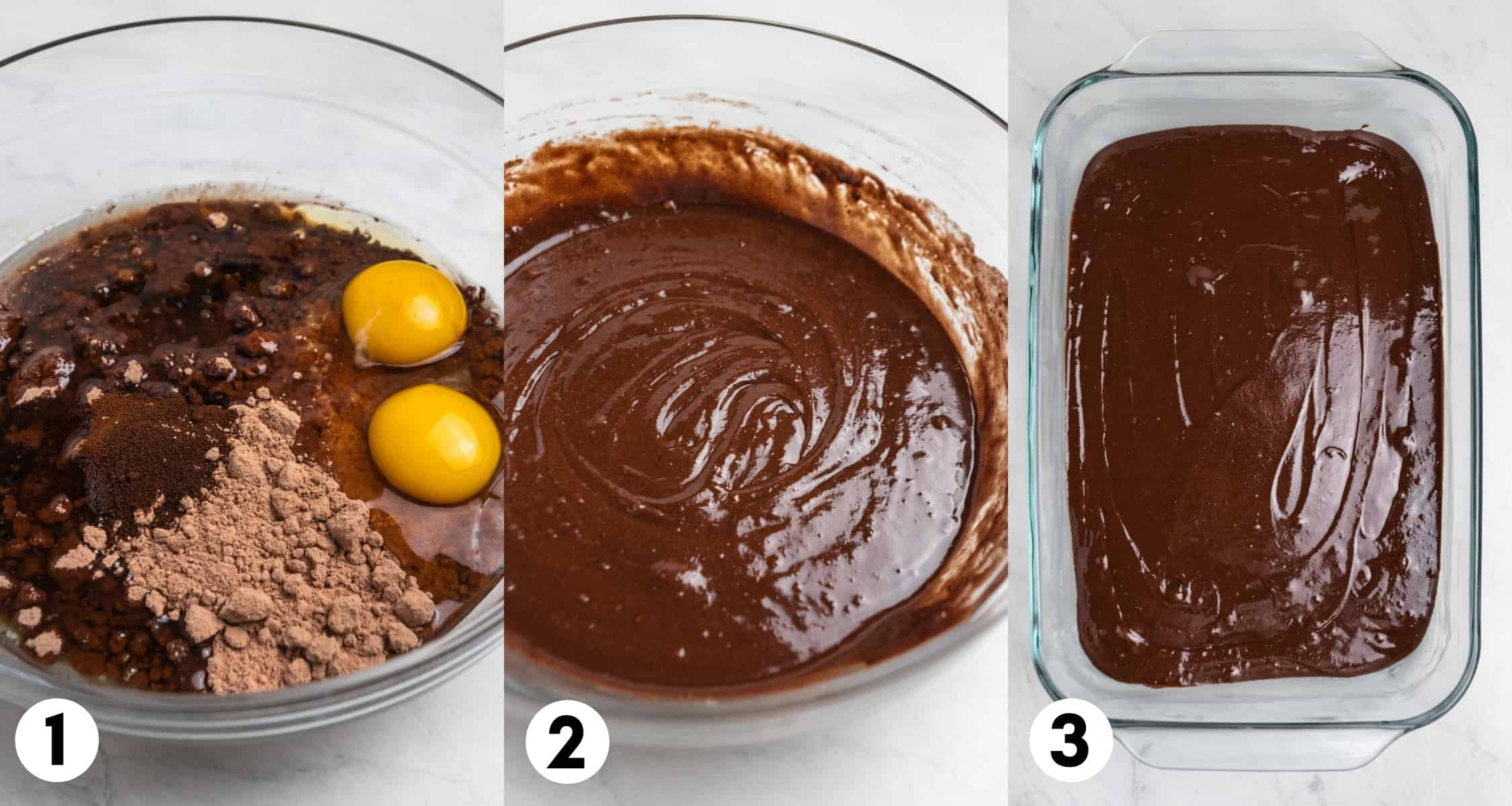 Eggs, oil and brownie mix in mixing bowl and then spread out in baking pan.