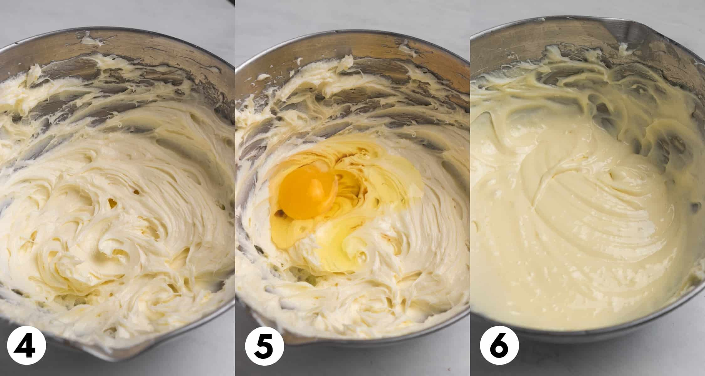 Cream cheese sugar and egg mixed together in mixing bowl.