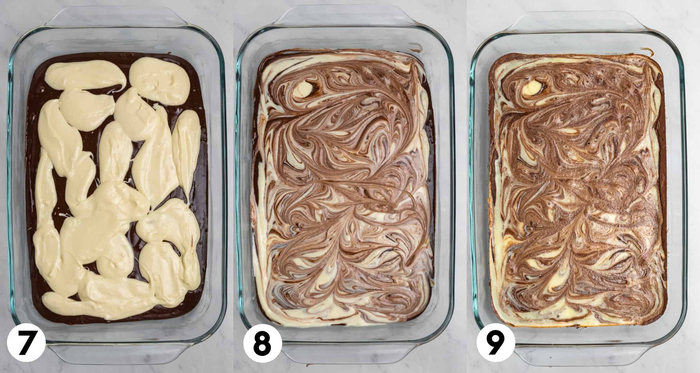 Brownie mix with cream cheese mixture in baking pan, swirled together and then after baked.