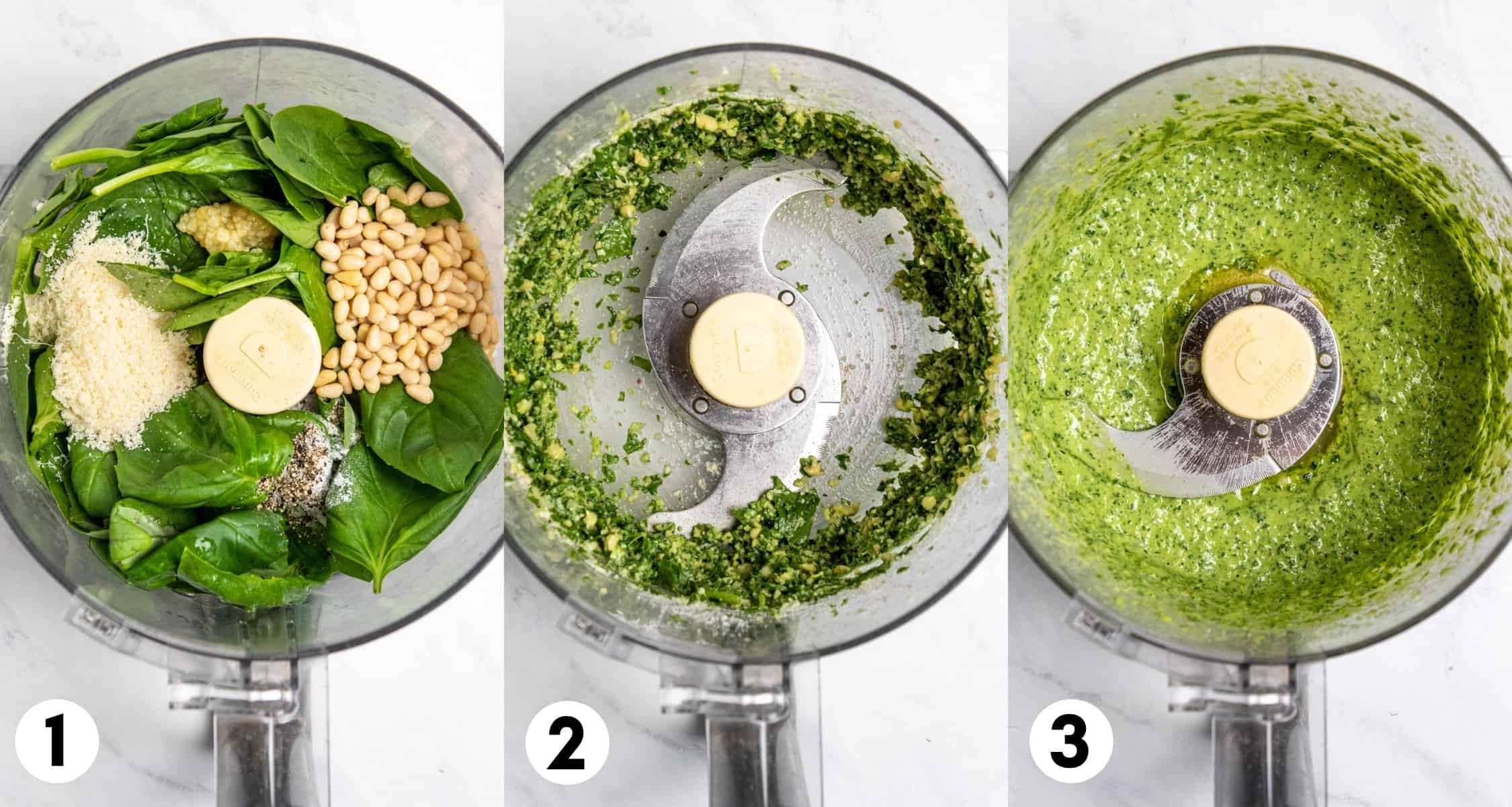 Pesto ingredients in food processor being processed into pesto.