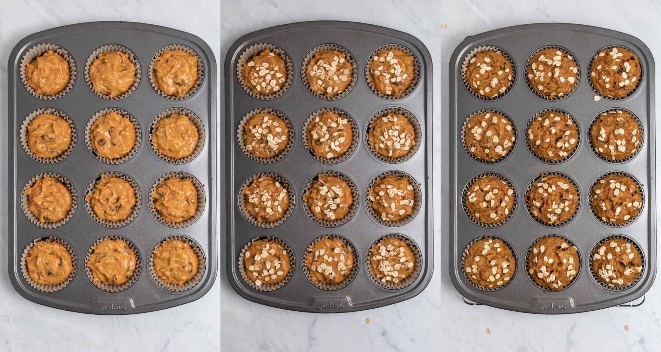 Pumpkin muffin batter in muffin tin before and then after baking with oats on top.