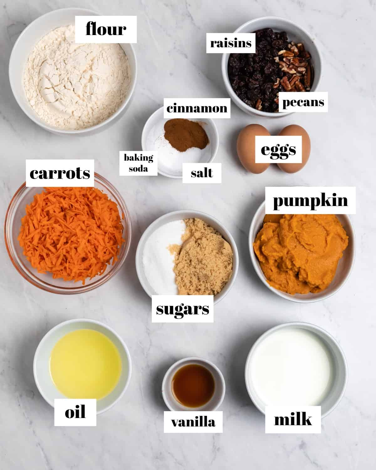 Ingredients to make muffin recipe labeled on counter.