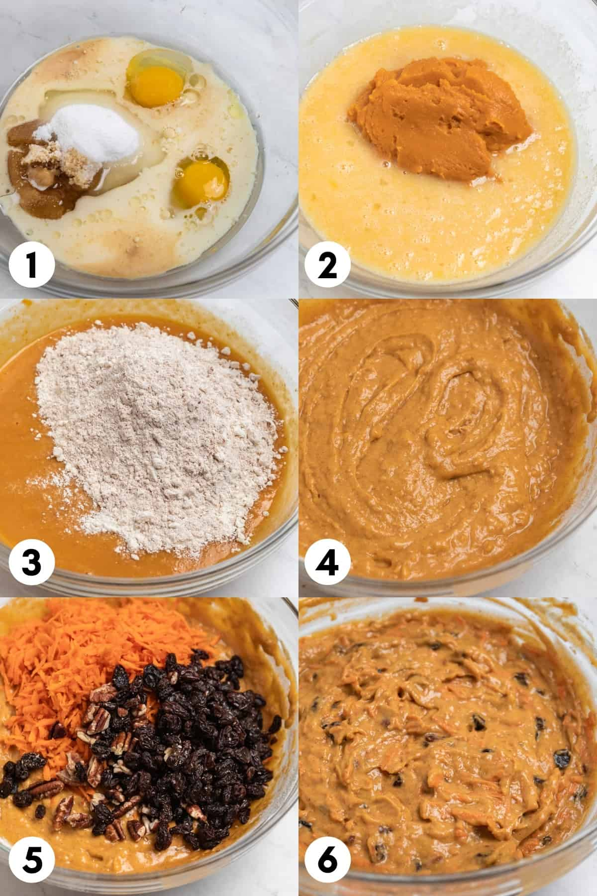 Labeled steps to make muffin recipe with mixing bowl in each image with batter steps.