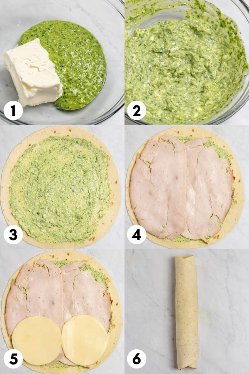 Pesto pinwheels step by step photos including tortillas, pesto, turkey and cheese rolled up into tortilla.