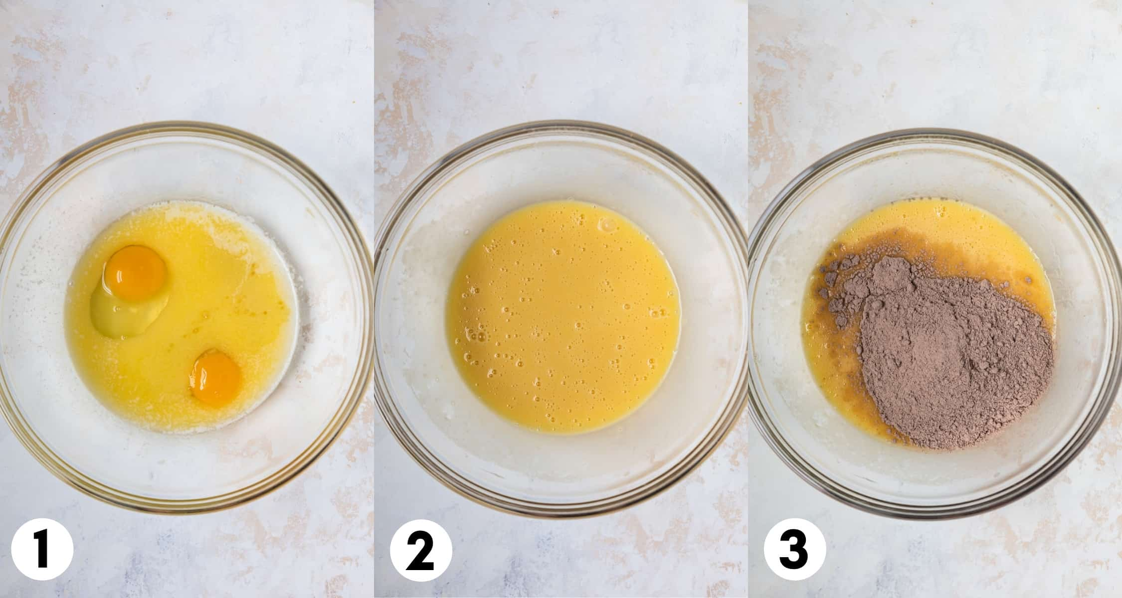 Steps to make cake mix cookies showing ingredients in each mixing bowl as added.